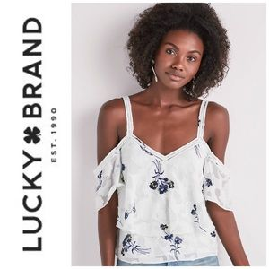 🆕 Lucky Brand Jacquard Cold Shoulder Top